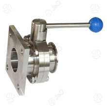 Sanitary Stainless Steel 304 316L Flange Thread Butterfly Valve with Pull Handle
