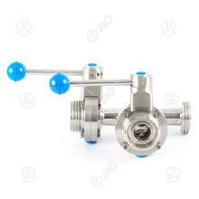 Sanitary Stainless Steel T Type 3 Way Thread Male Butterfly Valve with Pull Handle