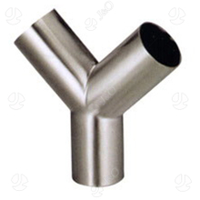 Sanitary Stainless Steel Tube Fitting Matt Polished Round Head Y Tee