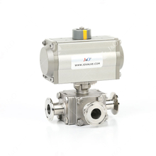 Square Sanitary Stainless Steel Pneumatic 3 Way Ball Valve